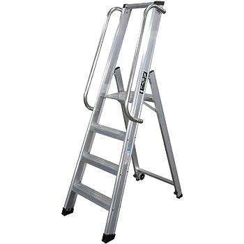 KTL Escalera Industrial de Aluminio Tijera un Acceso 4 peldaños Serie XL: Amazon.es: Hogar