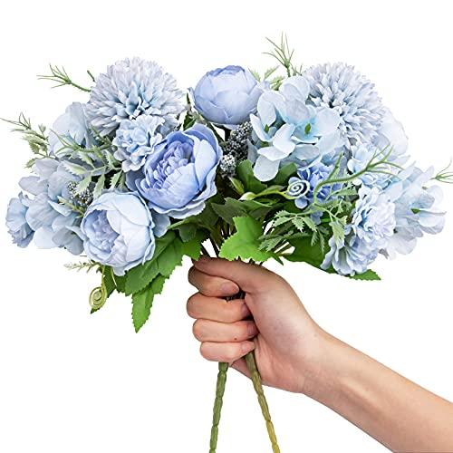 Artificial Flowers, 2 Pack Fake Peony Silk Light Blue Hydrangea Bouquet Decor Plastic Carnations Daisy Realistic Flower Arrangements Wedding Decoration Table Centerpieces, for Home Office Party Decor