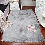 DAOXU Piel de Imitación,Cozy sensación como Real, Alfombra de Piel sintética Lavable para sofá o Dormitori (75 x 120cm, Gris)