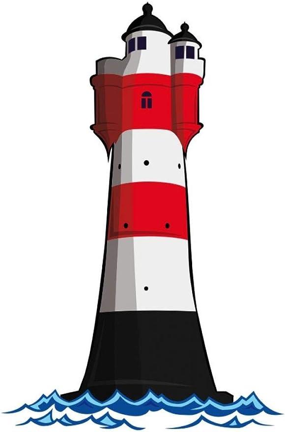 Samunshi Wandtattoo Leuchtturm Roter Sand Deutsche Bucht Leuchtfeuer In 7 Größen 80x120cm Küche Haushalt