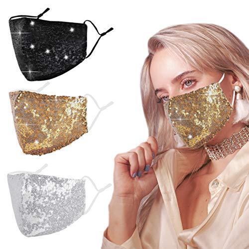 Futing-EU Masque Tissu Lavable Femme Paillette Mask Noir + Jaune + Blanc…