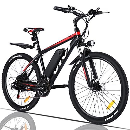 VIVI Elektrofahrrad, 350 W, Mountainbike, Erwachsene, 66 cm (26 Zoll), Akku 10,4 Ah, 32 km/h max. Geschwindigkeit, Unisex, Rot, 66 cm (26, 26 pulgadas