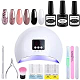 Lagunamoon Gel Nail Polish Set with 36W Nail Lamp,Manicure Salon Set Includes 6