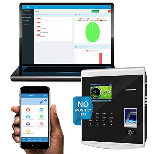 Time Clocks with Free Software/ 20 Mobile App Accounts/No Monthly Fee! Biometric Fingerprint Time Attendance for Employees Small Business,Office Punch with APP for iOS and Android