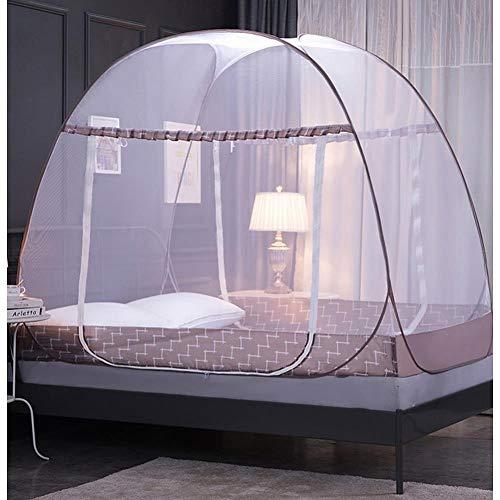 Moustiquaire intérieure 100% de fibre de bambou été de pliage, de protéger efficacement contre les piqûres de moustiques volants, 150 * 120 cm,chocolat