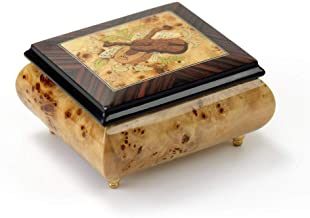 Sophisticated Cream Stain Music Box with Violin Wood Inlay - Butterfly Kisses