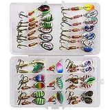 LEAMALLS 31 Piezas Señuelos Pesca Artificial Cebos para Anzuelos Pesca, Cucharillas Pesca Accesorios Aparejos De Pesca para la Pesca Ganchos