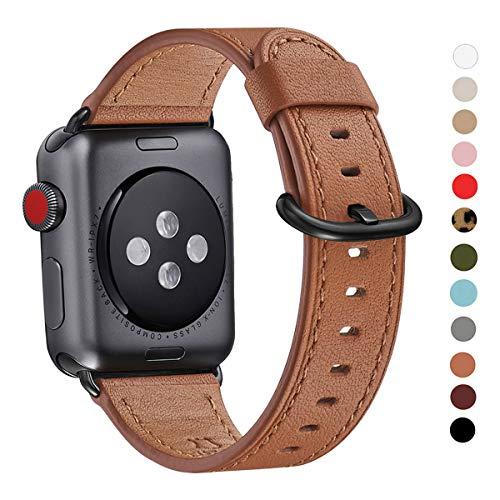 WFEAGL Correa para Correa Apple Watch 42mm 44mm 38mm 40mm, Correa de Repuesto de Cuero Multicolor para iWatch Serie 5/4/3/2/1(38mm 40mm,Marrón/Negro)