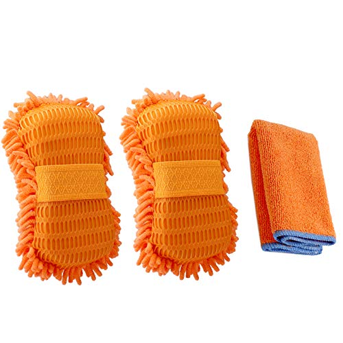 Ultimate Chenille Microfiber Car Wash Sponge Automobile Cleaning Sponge Ultra Soft Lint Free Scratch Free Built in Hand-Strap (2 Pack Spong +1 Pack Towel)