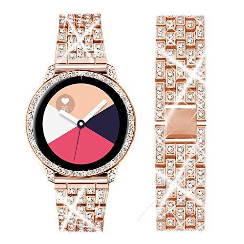 DEALELE Correa Compatible con Samsung Galaxy Watch Active (40mm), Pulsera de Metal Acero Inoxidable Diamante Brillante con Estuche Cubrir 20mm.