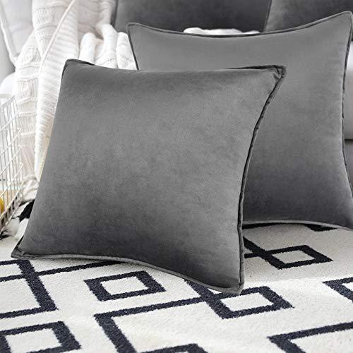 Alishomtll Grau 2er Set Samt Kissenbezüge 45x45cm Dekorative Weich Kissenhülle mit Verstecktem Reißverschluss Einfarbig Kissen für Sofa Schlafzimmer