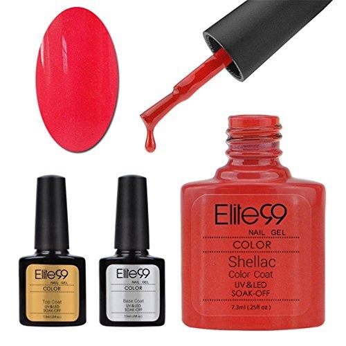 Elite99 UV LED nagellack gel shellac set nail polish set soak off gel Geschenk Grau(1xStück Rot Gel 10ML,1xStück Überlack 10ML,1xStück Unterlack 10ML)