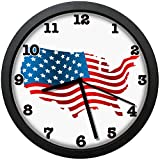 Dadidyc American Flag Map Art Wall Clock, Silent Non Ticking Battery Operated Easy to Read Decorative Wall Clock for Kitchen Bedroom Bathroom Living Room Classroom 10in