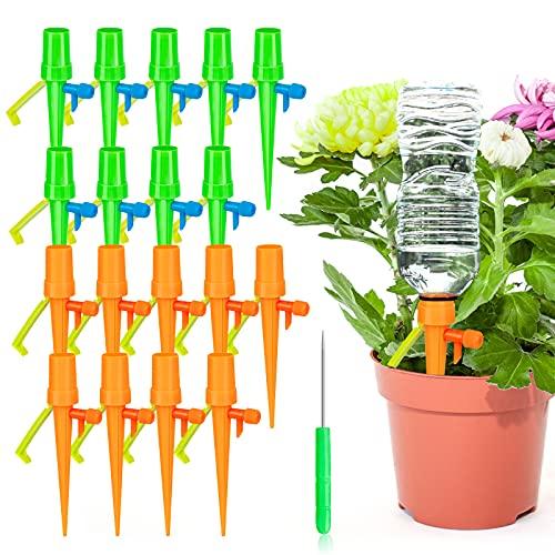 MOOB Riego por Goteo Automático Kit,Ajustable Dispositivo de Riego por Ggoteo Spike Sistema de Irrigación para Jardín Bonsáis y Flore,Ideal Dispositivo de Irrigación Automático en Vacaciones (18 PCS)