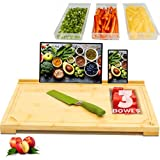 Hultzzzy Designer Bamboo Cutting Board - (4 Piece Set) - Built-in Containers/Trays - Phone Ipad Holder - Extra Large, Meal Prep Station - Elevated Chopping Board - Non-Slip Feet - Charcuterie Board