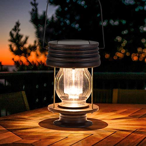pearlstar Hängend Solarlaterne für Außen 8.3inch 30 Lumen Retro Hell LED Outdoor Solartischlampe Wasserdicht für Aussen Garten Patio Balkon Deko, Warmes Licht, 1 Pack