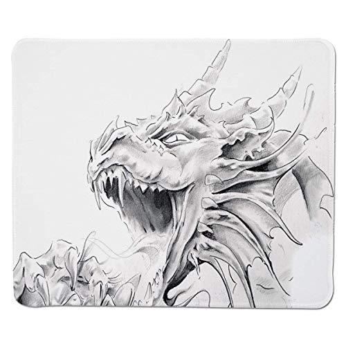 Yanteng Gaming Mouse Pad Drache, Skizze eines mittelalterlichen spirituellen Charakters mythologischer Kreatur Abstrakter Entwurf, hellgrauer weißer genähter Rand