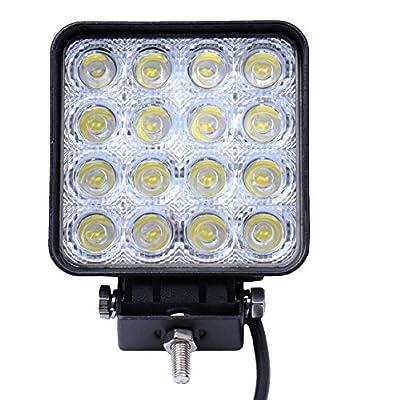 48W Spot Drving Fog Light, Headlight Off Road LED Pod Lights Square for SUV Jeep Boat Truck, 24 Months Warranty