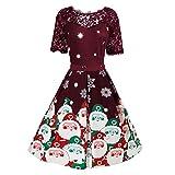 Berimaterry Weihnachten Kleider Damen Spitzenkleid Elegant Patchwork Kurzarm Weihnachtskleid Weihnachtsmann Print Abend Party Kleid 1950er Vintage Knielanges Ballkleid A-Linie Swing Christmas Dress