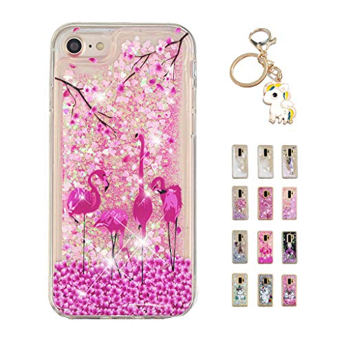 Kawaii-Shop Funda iPhone 6S Plus 6 Plus Brillo líquido, Cute Flamenco TPU Silicone Case Transparente Glitter Resistente Cover +Llavero Unicornio