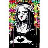 Xynfl Maquillaje Mona Lisa Carteles E Impresiones Lienzo Divertido Pintura Famosa En El Arte De La Pared Imagen De Retrato Colorido para La Sala De Estar-60X80Cmx1 Sin Marco
