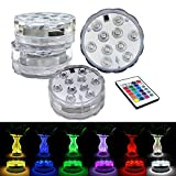 Submersible LED Lights,Multicolor RGB 10-LED Lights Waterproof Underwater Light for Vase Base,Aquarium, Pond, Garden, Fish Tank,Home Party, Decoration Lights,Hot Tub Lights with Remote Control