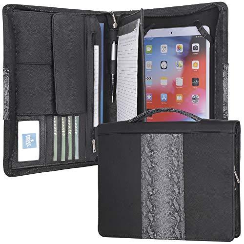 """iPad 7th 10.2""""/ iPad 10.5""""/ iPad Pro 11""""用レザージッパーポートフォリオ、引き込み式ハンドル付きビジネスブリーフケース、右利きまたは左利きに適"""