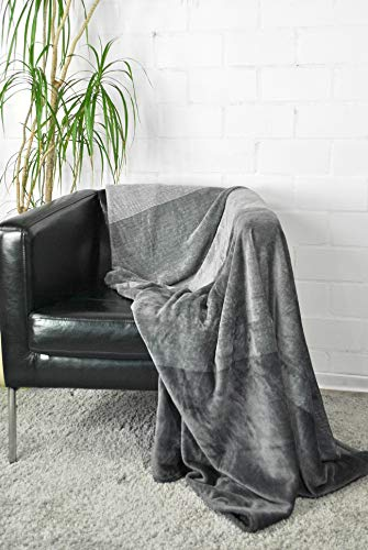 jilda-tex Wohndecke Kuscheldecke Plüschdecke Stripes Decke Tagesdecke Stripes Streifendecke 150 x 200 cm (Dunkelgrau)
