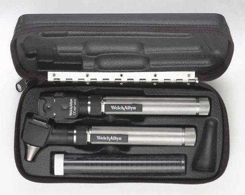 """Welch Allyn 92820 Pocket Scope Set Includes Ophthalmoscope, Otoscope/Throat Illuminator, 2""""AA"""" Alkaline Battery Handles, Hard Case, No Charger"""