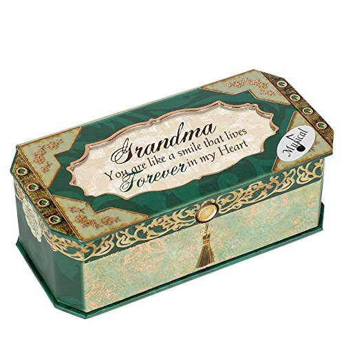 Grandma in My Heart Teal Foiled Jewelry Music Box Plays You Light Up My Life by Belle Papier