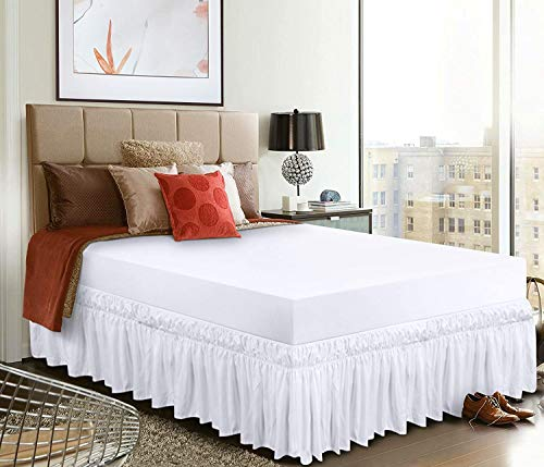 SoftoDream Easy On Easy Off Dust Ruffle Polyester/Microfiber Wrap Around Elastic Three Fabric Sides Silky Soft 1PC Around Bedskirt {King/12 Drop Length , White Solid}