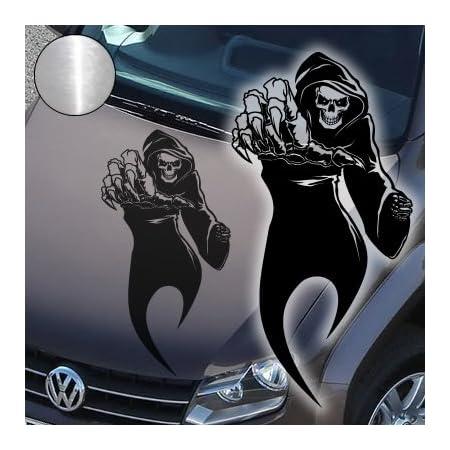 A765 Autoaufkleber Reaper Skull 60cm X 31cm Chrom Erhältlich In 49 Farben Und 4 Größen Auto