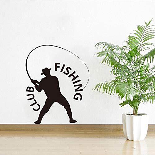 Usmnxo Club de Pesca Vinilo extraíble Pegatina azulejo de Vidrio Arte de la Pared Papel Tapiz decoración del hogar Mural de Moda 56X70cm