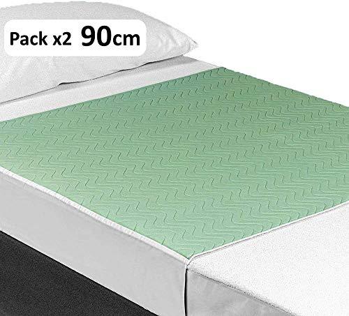 OrtoPrime Pack 2 Empapadores Cama Adultos Lavables Absorbentes 3,15 Litros/m2 - Más de 200 Lavados - Empapadores Impermeables 4 Capas - Empapadores Bebe Protector de cama con Alas 90 x 85