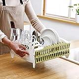 Lukzer Kitchen Foldable Collapsible Dish Drying Drainer Basket Organizer Rack Designed Slots for Utensils Space Saver Kitchen Organizer (34 x 28 x 13 cm)