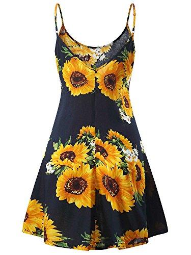 MSBASIC àrmelloses, verstellbares Riemchensommer Strand Swing Kleid für Damen 17147-10, Sunflower, XL