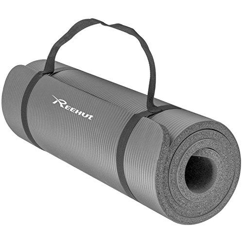 REEHUT 12mm NBR Gymnastikmatte + Tragegurt Extra-Dick rutschfest Phthalatenfrei Unisex Sportmatte für Yoga Pilates Fitness Gymnasitk, 181 x 61 cm(Grey)