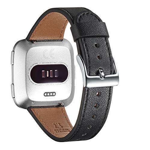 WFEAGL Compatible con la Correa Fitbit Versa 2,Correa de Repuesto de Banda de Cuero de Grano Superior para Fitbit Versa/Fitbit Versa 2/Versa Lite/Versa SE Fitness Smart Watch(Negro/Plata)