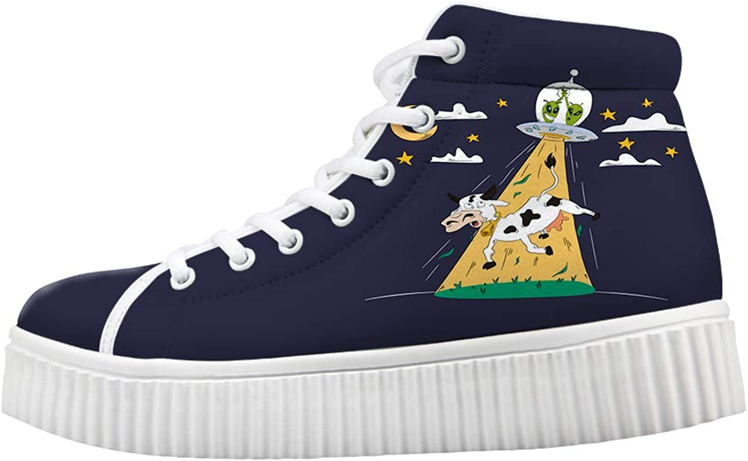 Owaheson Platform Lace up Sneaker Casual Chunky Walking shoes Women High-Five Aliens UFO Kidnapping Cow