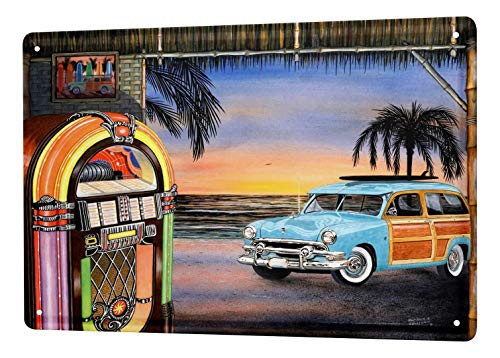 Tin Sign Garage Wall Design Vintage Jukebox Bar Metal Plate 12x8 Inches