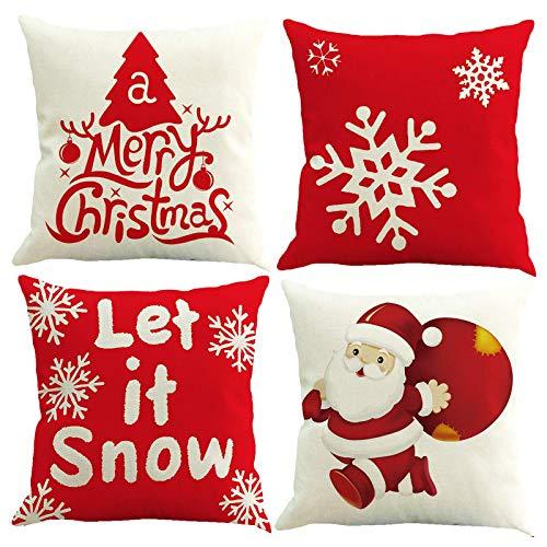 Kissenbezüge Weihnachten, 4er Leinen Drucken Kissen Kissenbezüge 45x45cm Weihnachtsmann Weihnachtsbaum Schneeflocke Muster Baumwolle Dekorative Kissenbezüge, Atmungsaktiv Weich Kissenbezüge für Sofa