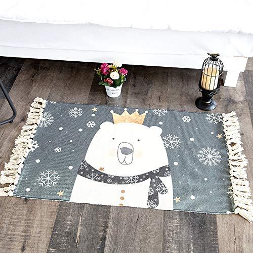 Simpatico Orso in Cotone e Cotone 60 * 180 cm,Tappetino da Bagno Antiscivolo Tappetini per Il Bagno Vasca Doccia Tappeto da Terra in Microfibra Ciniglia Assorbente Lavabile in Lavatrice Morbido