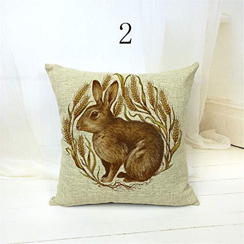 DXSERCV Cushion Cover Cartoon Animal Fox Rabbit Bird Pig Pattern Home Decor Sofa Garden Gaming Chair 50X30Cm
