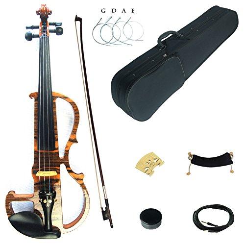 Kinglos 4/4 Colorato In Legno Massello Professionale Elettrica/Silenzioso Violino Kit Raccordi Ebano - MWDS1902