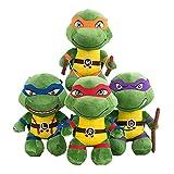 \t Tortugas Ninja Juguetes Peluches TMNT Juguetes Leonardo Raphael Donatello Michelangelo Figura de Peluche Colecciones Muñeca Regalo para Niños (25CM, 4 PCS)