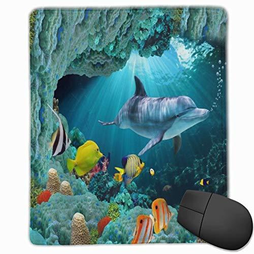 DAOPUDA Gaming Mauspad 250x300x3mm 3D Unterwasserwelt Delfine Fisch Korallen Meerestiere Blauer Hintergrund Office Mauspad rutschfeste Mousepad für PC,Computer und Laptop