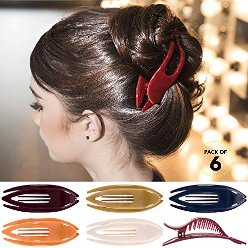 RC ROCHE ORNAMENT 6 Pcs Womens French Concord Curved Hair Clip No Slip Strong Grip Comfortable Hold Girls Ladies Beauty Accessory Pin Teeth Clamp, Medium Classic Multicolor