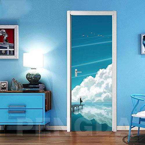 SPSPKZ 3D Door Art Door Wallpaper Mural Puerta Papel Tapiz Niños Cuarto Papel Pintado Poster Cielo, Nubes Blancas, Paisaje De Mar. Baño Impermeable Extraíble Autoadhesivas Vinyl Decoración Hogar 77X20