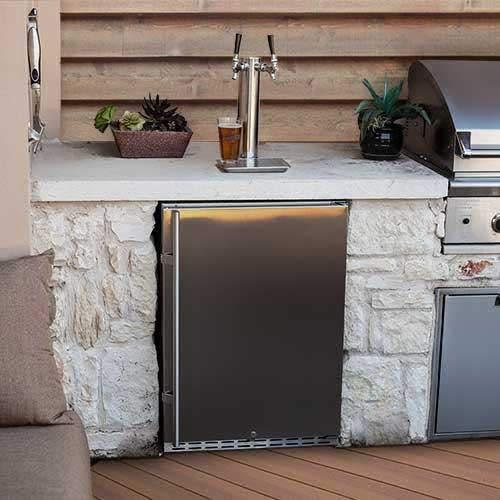 EdgeStar Full Size Dual Tap Built-In Outdoor Kegerator - Stainless Steel