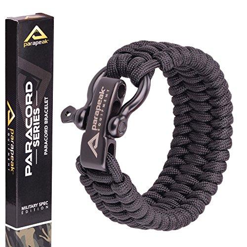 Pulsera militar de supervivencia Parapeakde estilo Trilobite con argolla ajustable de acero inoxidable., Black, Black Clasp, 9